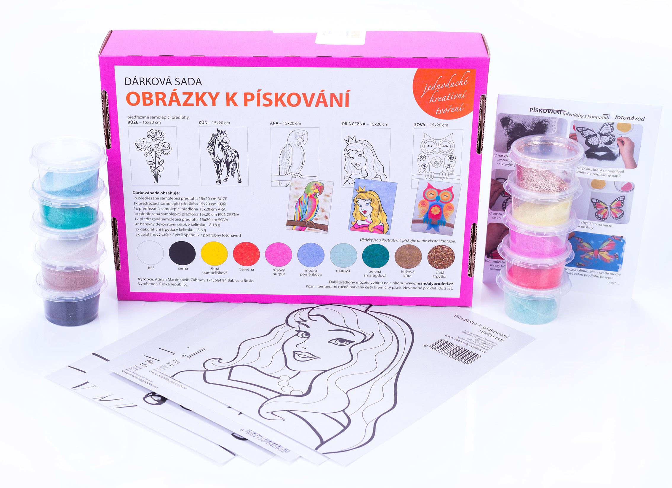 sada RŮŽE, KŮŇ, ARA, PRINCEZNA, SOVA / 15x20-Dárková sada – šablony na pískování a barevný písek